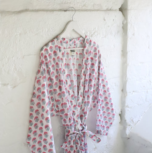 COTTON KIMONO by Tikau (white with pink/ green floral pattern) NEW