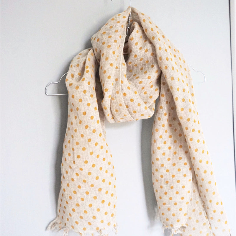 LINEN SCARF by Tikau (Yellow Dots)
