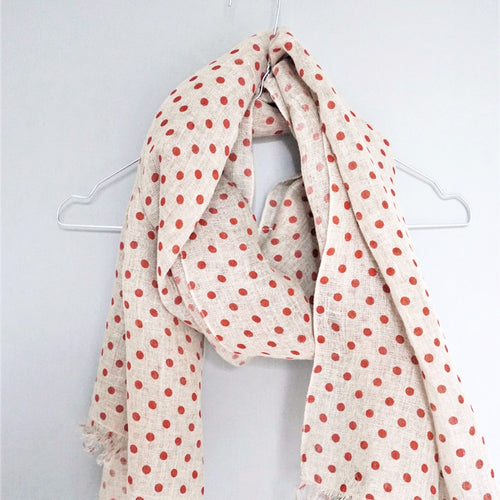 LINEN SCARF by Tikau (Red Dots)