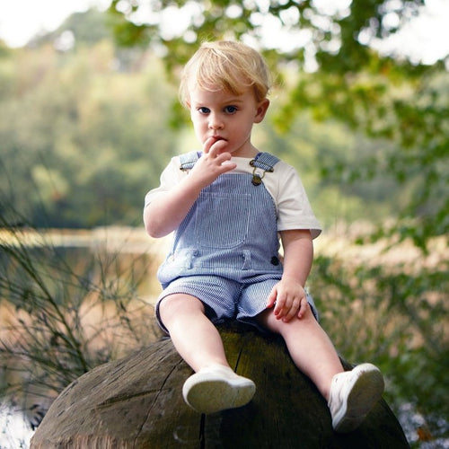 SHORTS, Cotton Denim by Dotty Dungarees (1-5 years, Blue/white stripe)