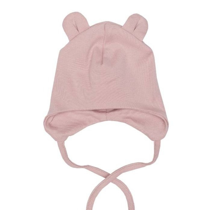 BABY HAT WITH TEDDY EARS PINK  by Wooly Organics