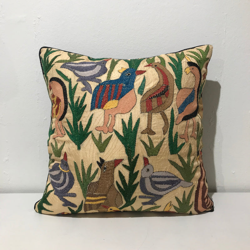 BIRDS EMBROIDERED SILK CUSHION COVER By Tikau