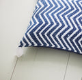 BLUE ZIGZAG CUSHION COVER BY Tikau