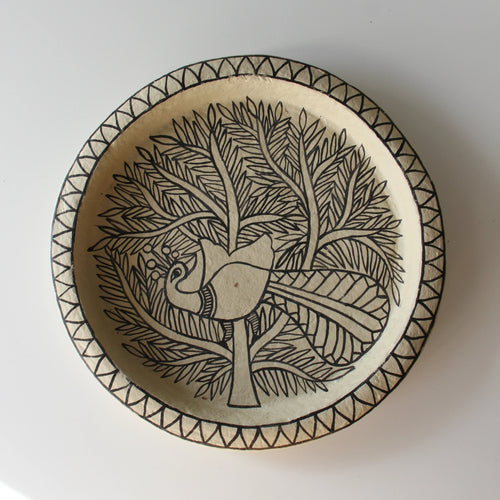 NEW! PRE-ORDER UNIQUE ART DECORATION PLATE PEACOCK by Tikau