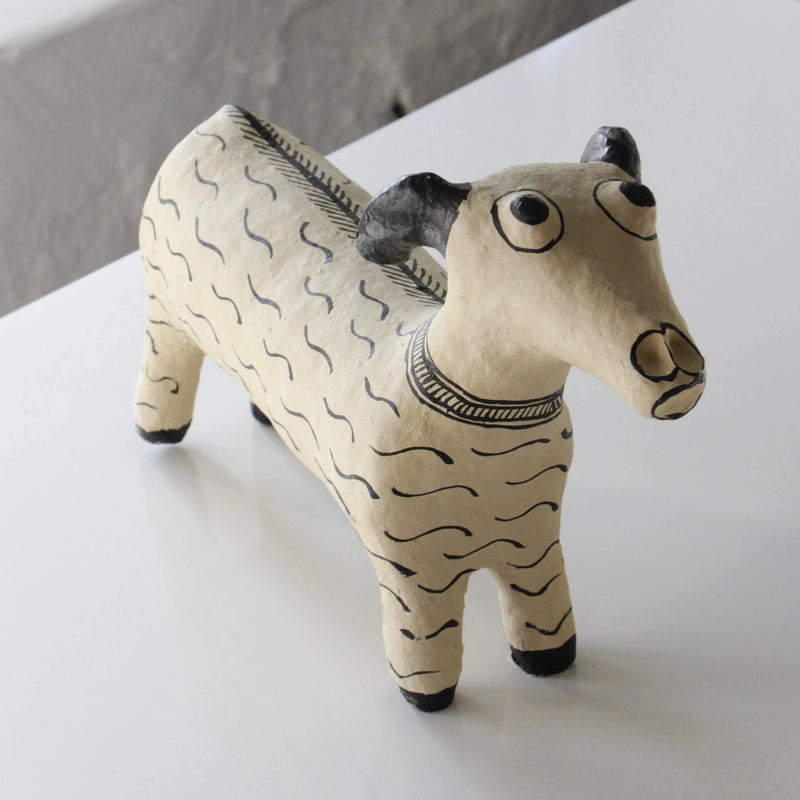 NEW! PAPER MACHE DOG by Tikau