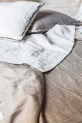 LINEN BED COVER WHITE/LIGHT GREY PRE-ORDER by Tikau (Double bed, 260x280 cm)