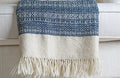 DESERT WOOL BLANKET by Tikau (natural white and blue)