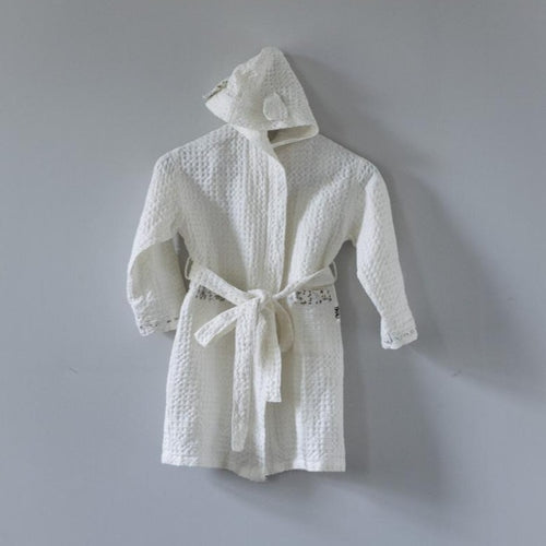 BATH ROBE WHITE LINEN/COTTON FOR KIDS by Tikau