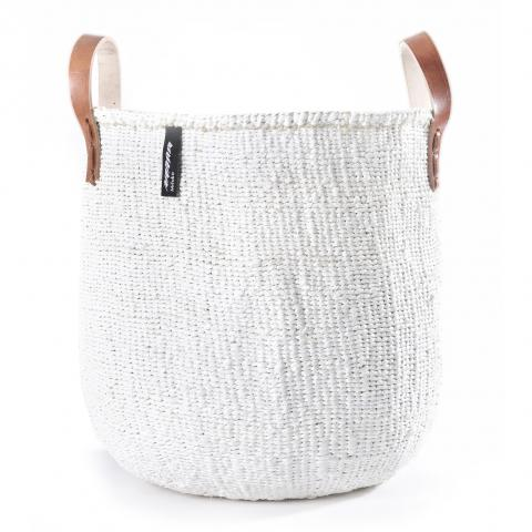 KIONDO BASKET M (WHITE WITH LEATHER HANDLES) by Mifuko