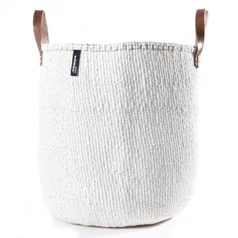 KIONDO BASKET L (WHITE WITH LEATHER HANDLES) by Mifuko