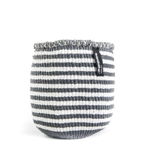 KIONDO BASKET M (GREY AND WHITE thin stripe) by Mifuko