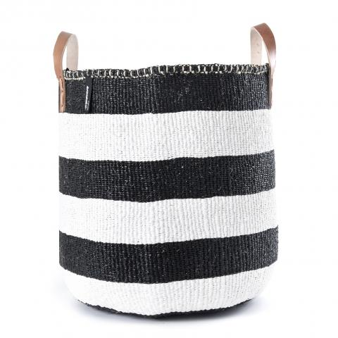 KIONDO BASKET L (WHITE AND BLACK STRIPES WITH LEATHER HANDLES) by Mifuko