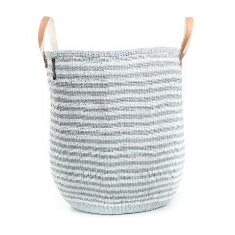 KIONDO BASKET L (LIGHT BLUE AND WHITE thin stripe with leather handles) by Mifuko