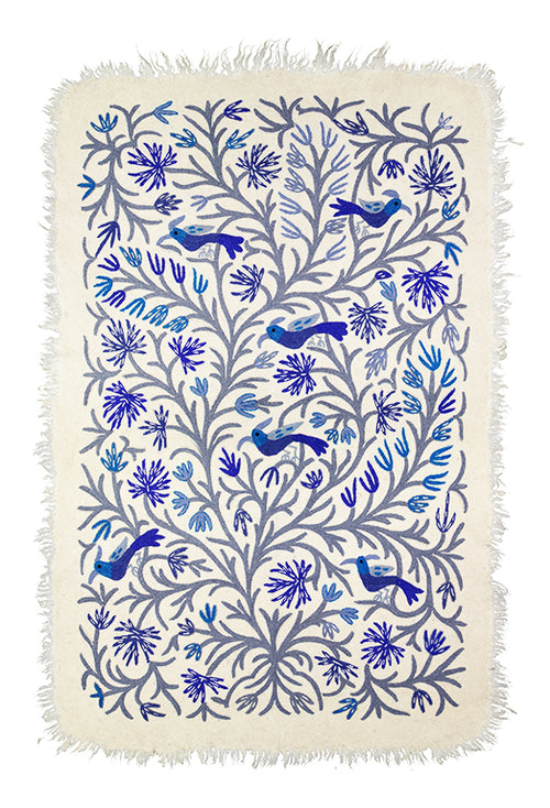 BIRDS CARPET BLUE&GREY PRE-ORDER by Tikau (125x180cm)