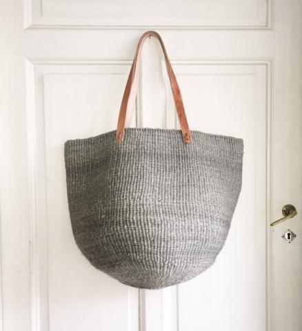 SISAL NATURAL GREY BAG L (Gray with long leather handles) by Mifuko