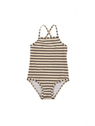 SWIMSUIT by Tinycottons (2-6 years, Stipes Beige/Black)