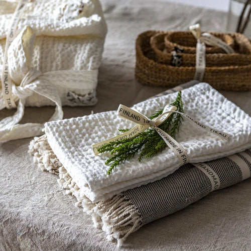 SMALL TOWEL LINEN/COTTON WHITE  by Tikau Merikatu, NEW