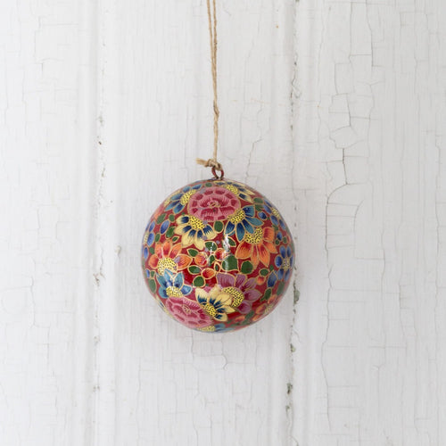 Christmas ornament bauble (Flowers, multicolour on red base) NEW