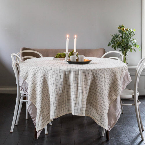 TABLE CLOTH ORGANIC COTTON by Tikau (Black check)