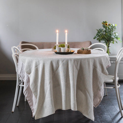TABLE CLOTH ORGANIC COTTON by Tikau (Grey stripe)