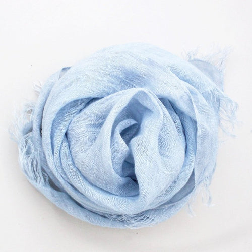 LINEN SHAWL by Tikau (100x200 cm, Light Blue)