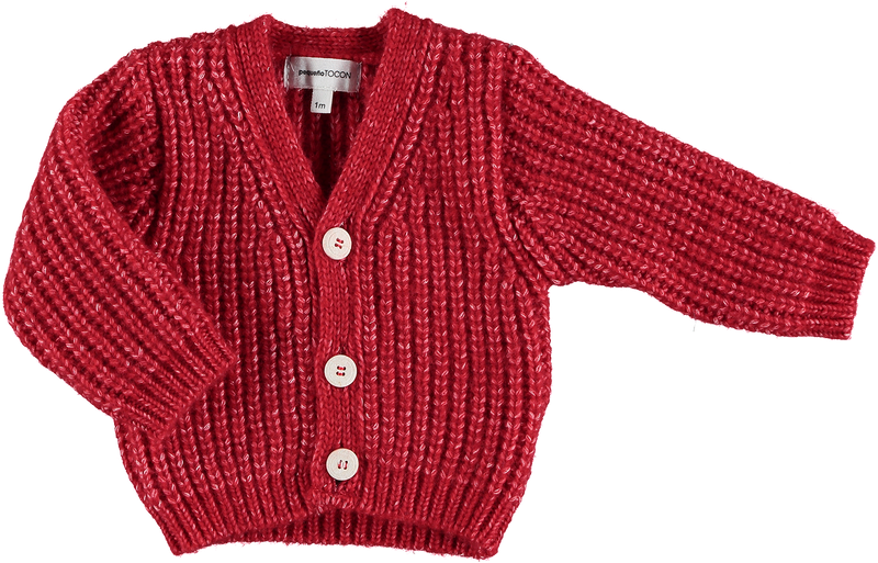 BABY JACKET OLD WOOL by Pequeno Tocon (3-36 months, Red)
