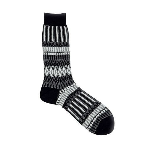 AYAME x THE C53 BASKET LUNCH SOCK (BLACK & WHITE)
