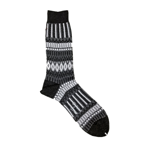 AYAME BASKET LUNCH 2- TONE SOCK (CHARCOAL)