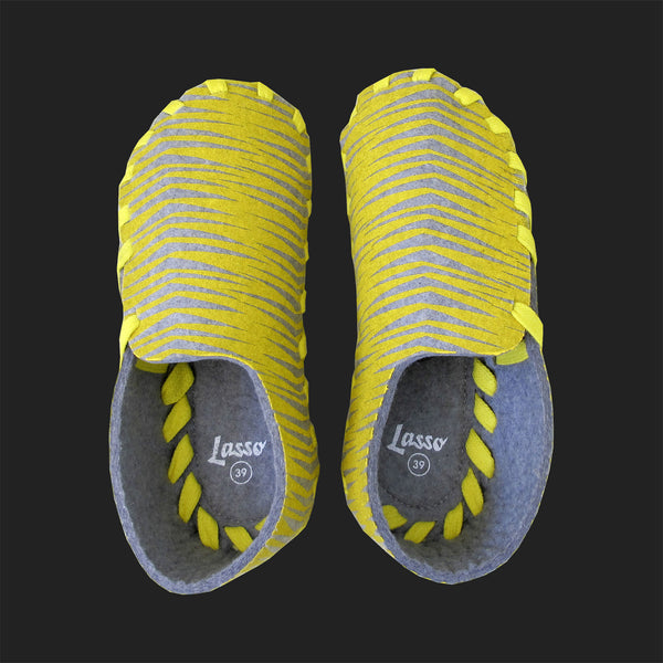 LASSO MEN'S FELT LACE UP SLIPPERS (YELLOW & GREY)