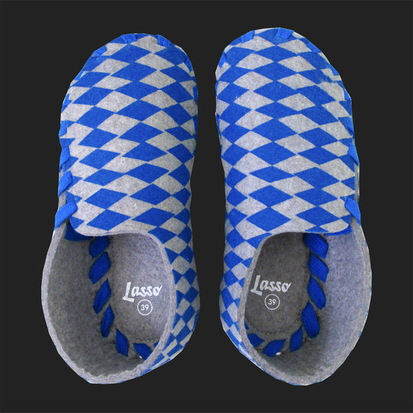 LASSO MEN'S FELT LACE UP SLIPPERS (BLUE & GREY)