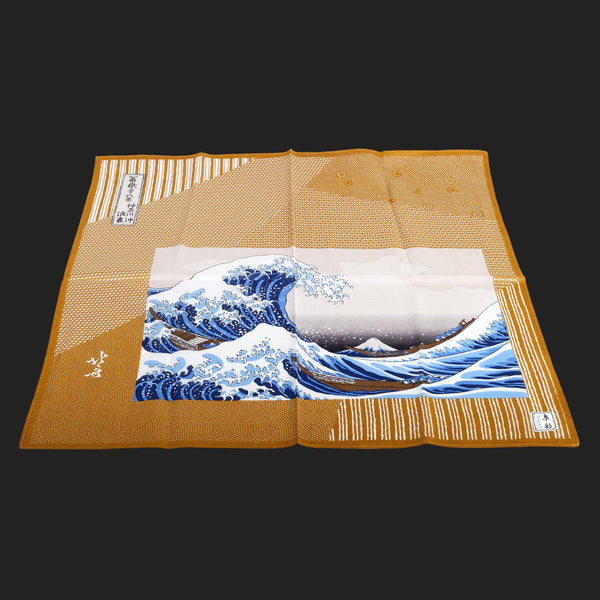 UKIYOE JAPANESE POCKET SQUARES (Yellow Mount Fuji)
