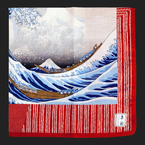 UKIYOE JAPANESE POCKET SQUARES (Red Mount Fuji)