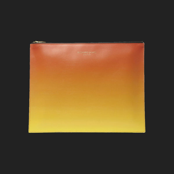 RICHARD JAMES ORANGE AND YELLOW FAZE IPAD/DOCUMENT POUCH