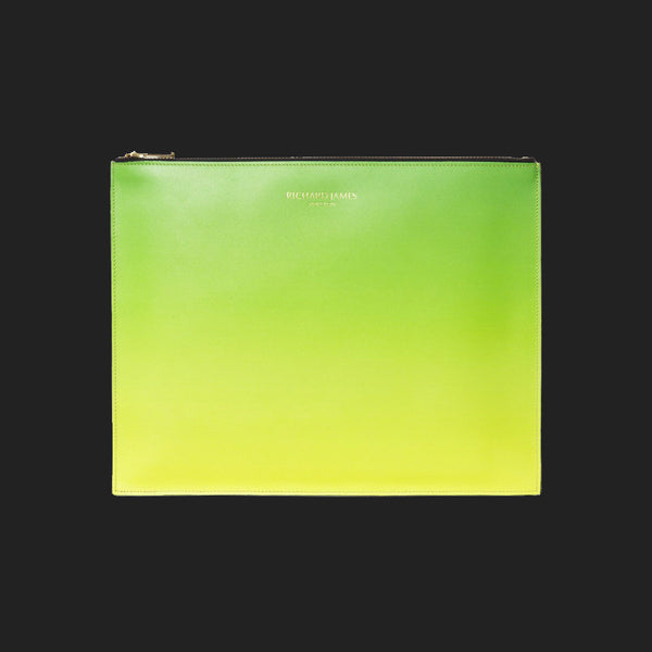 RICHARD JAMES GREEN AND YELLOW FAZE IPAD/DOCUMENT POUCH