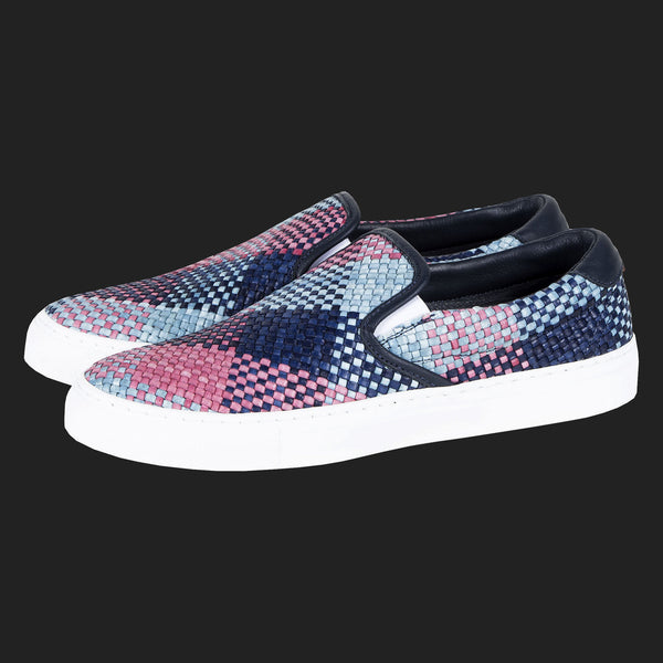 DIEMME GARDA WOVEN LEATHER SLIP ON SNEAKERS (RED BLUE & NAVY)