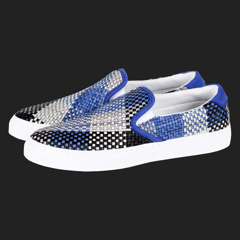 DIEMME GARDA WOVEN LEATHER SLIP ON SNEAKERS (BLUE BLACK & GREY)