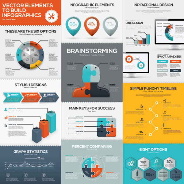 Infographic Vector Template Brainstorming Business