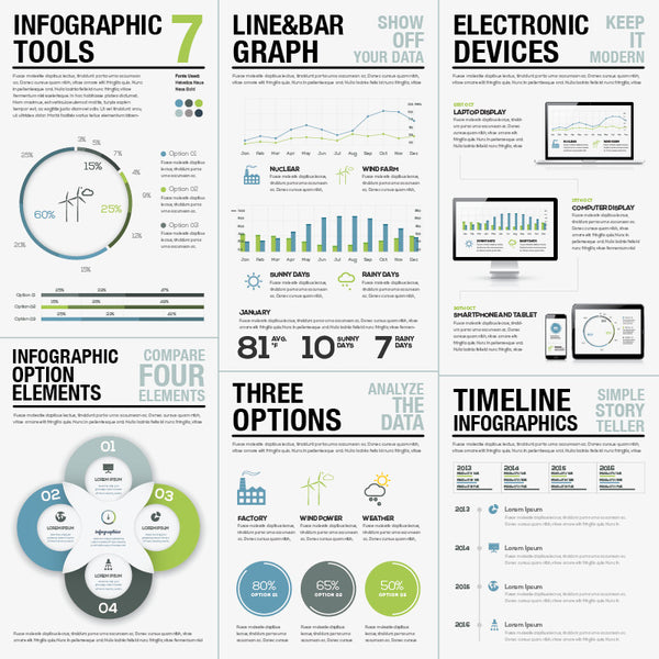Infographic Vector Template Tools Set 7