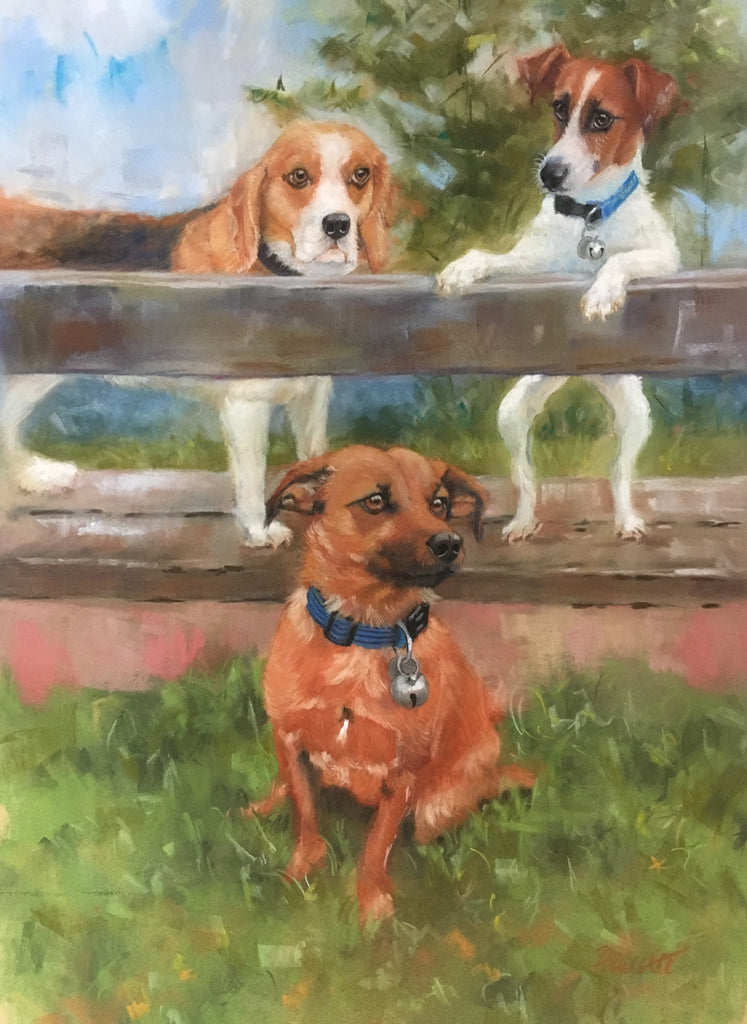 pastel drawing of two jack russells and a beagle