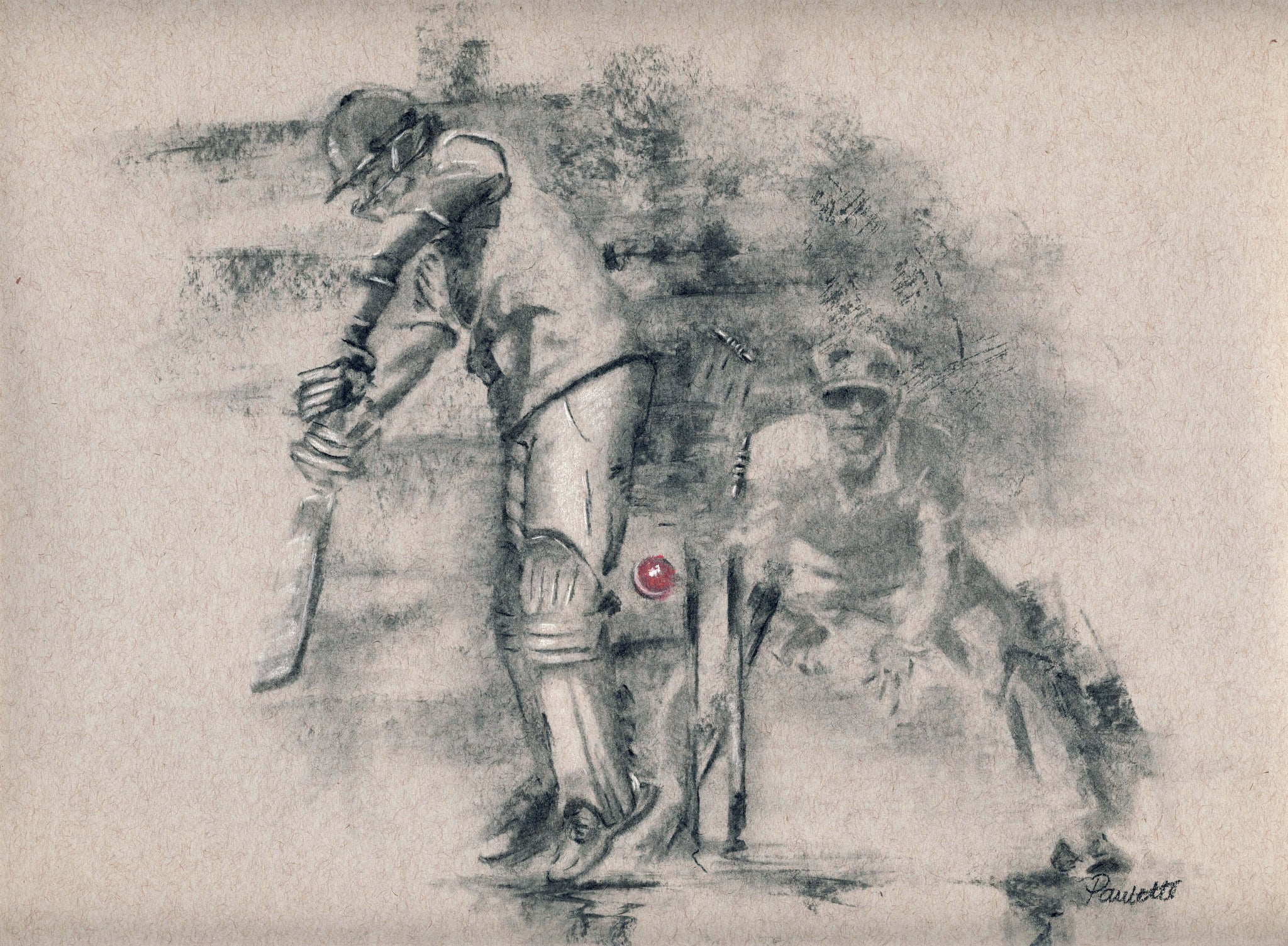 cricket drawing print artwork for cricket lovers
