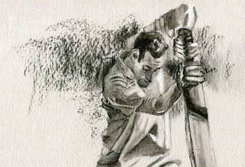 close up detail of a cricket drawing commission showing a cricket player batting