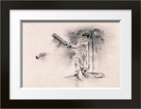 framed charcoal drawing of a junior cricket player hitting a ball by cricket artist