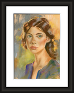framed portrait of the glance pastel portrait