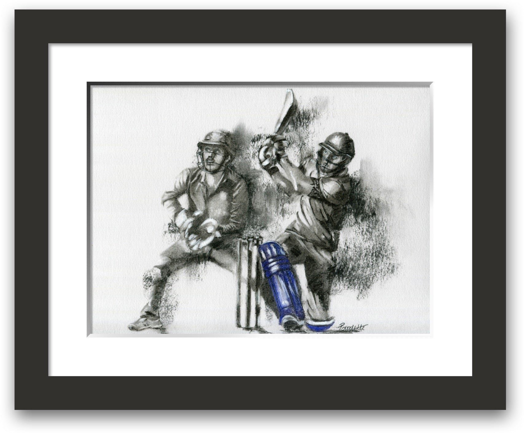 framed and mounted drawing of a batsman hitting a six in a t20 match by cricket artist