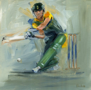original oil painting of south africa cricket ab de villiers
