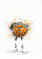 charcoal and pastel drawing of a robin running across the patio