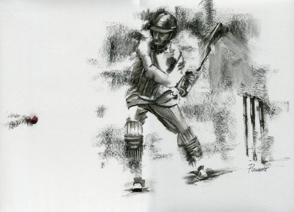 original charcoal cricket drawing of moeen ali batting for england