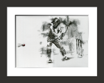 framed original cricket drawing of moeen ali batting an extra cover drive shot