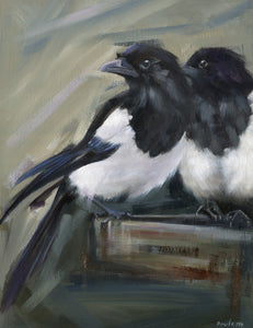 oil painting of two magpies