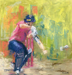 pastel drawing of england cricket captain eoin morgan batting for middlesex cricket
